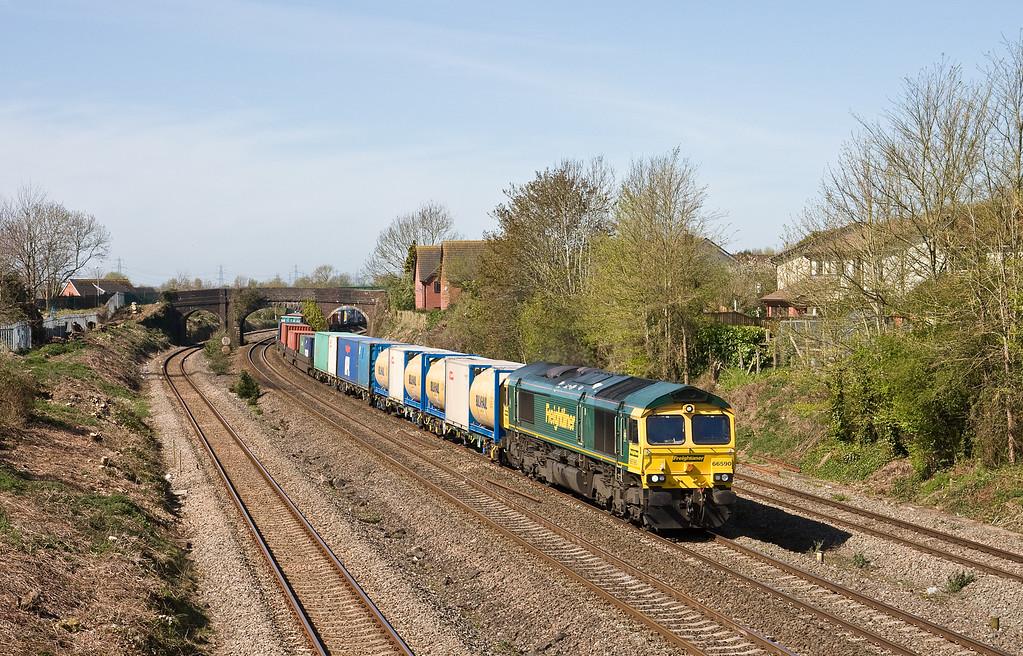 66590, 10.15 Cardiff Wentloog-Southampton Maritime, Undy, near Severn Tunnel Junction, 20-4-16.