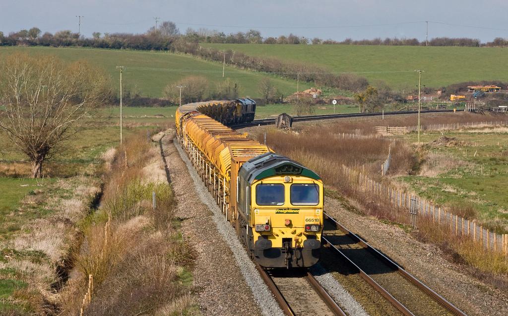 66419/66518, 04.10 Arundel Junction-Taunton Fairwater Yard, Wick, near Langport, 5-4-16 (late).