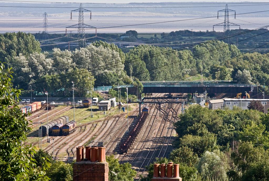 66024, 10.22 Corby-Margam, passing Newport Alexandra Dock Junction Yard, 9-8-16.