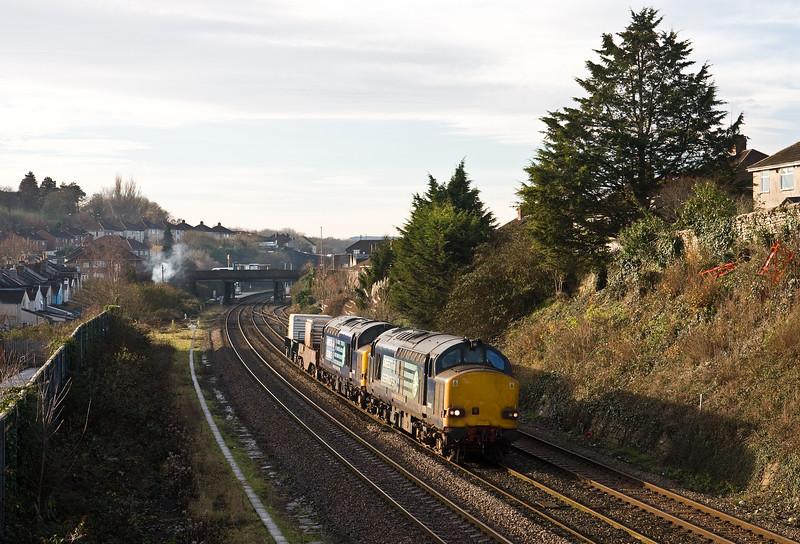 37612/37607, 11.00 Bridgwater FD-Crewe Coal Sidings, Malago Vale, Bedminster, Bristol, 14-12-16.