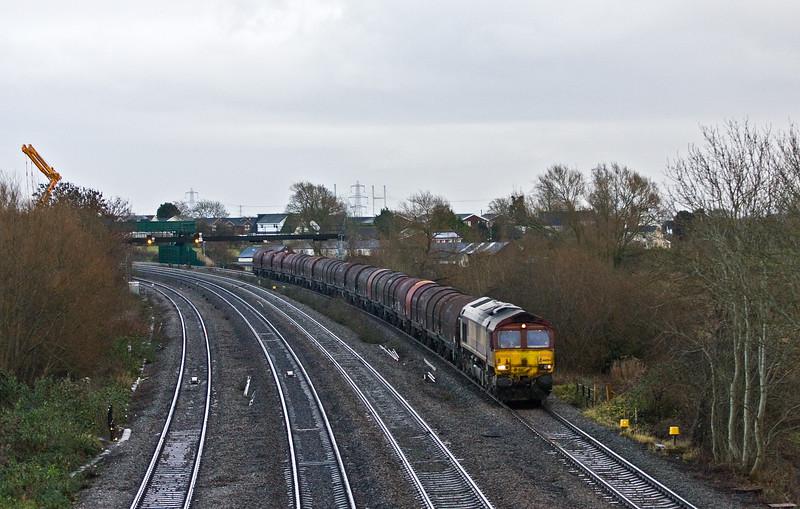 66004 Wolverhampton Steel Terminal-Newport Docks, Magor, 22-12-16.