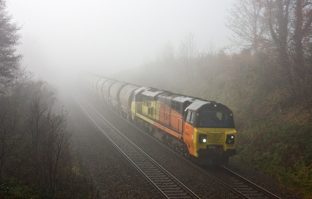 70808, 09.24 Moorswater Lafarge-Aberthaw Cement Works, Whiteball, 1-12-16. Early-running empties from the first train of a new flow from Aberthaw.