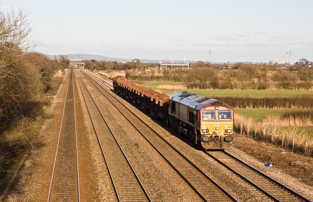 66096, 15.23 Llanwern Exchange Sidings-Margam, St Mellons, Cardiff, 15-2-16.