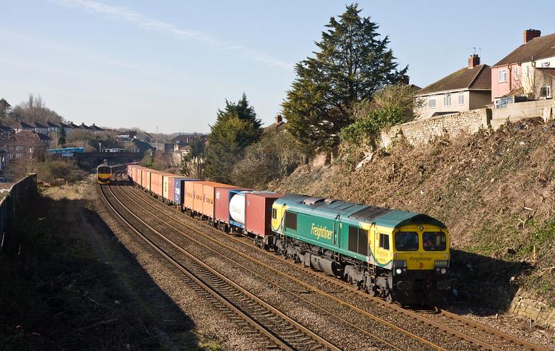 66414, 10.53 Bristol Freightliner Terminal-Tilbury RCT, Malago Vale, Bedminster, Bristol, 24-2-16.