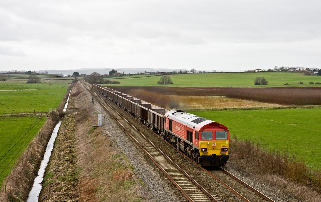 59203, 11.50 Exeter Riverside Yard-Whatley Quarry, Oath, near Langport, 3-2-16.