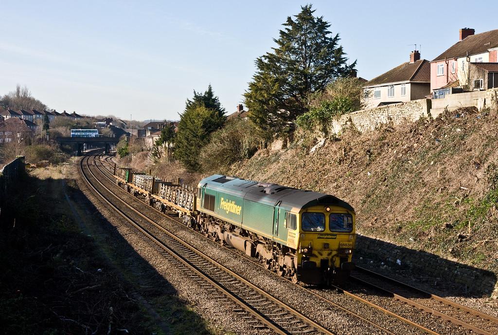 66536, 09.47 Taunton Fairwater Yard-Washwood Heath RMC, Malago Vale, Bedminster, Bristol, 24-2-16.