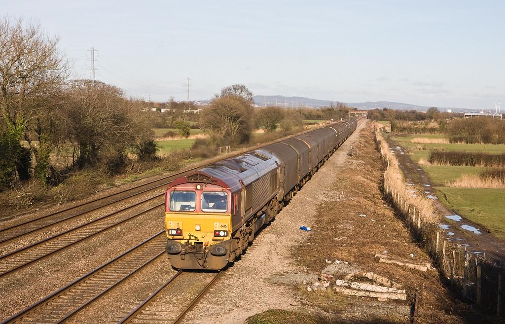 66161, 12.43 Newport East Usk (Birdport)-Margam, St Mellons, Cardiff, 15-2-16.