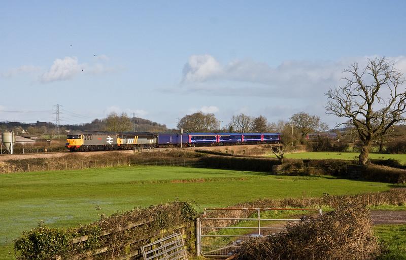 56098/56301, 01.42 Kilmarnock Barclay Sidings-Plymouth Laira T&RSMD, Pugham Crossing, near Burlescombe, 30-1-16.