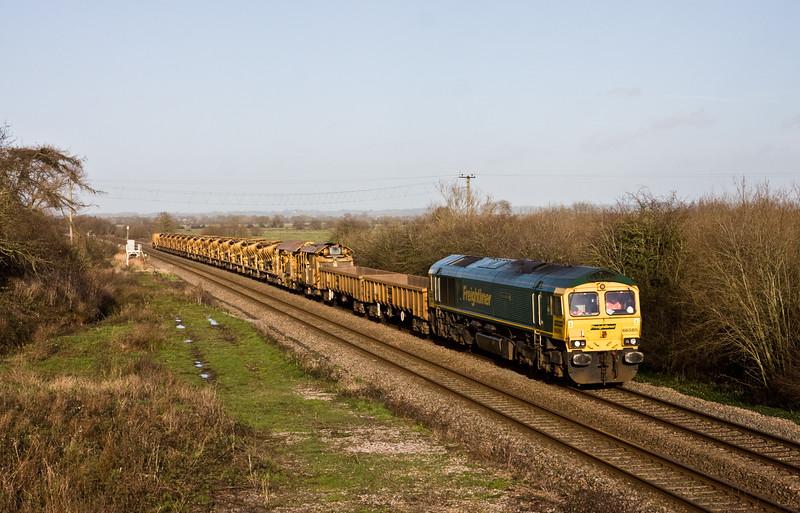 66585, 12.51 Westbury-Taunton Fairwater Yard, Banklands, near Bridgwater, 22-1-16.