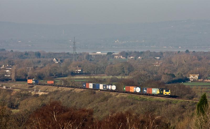 70014, 09.58 Cardiff Wentloog-Southampton Maritime, between Pilning and Cattybrook, Bristol, 19-1-16.