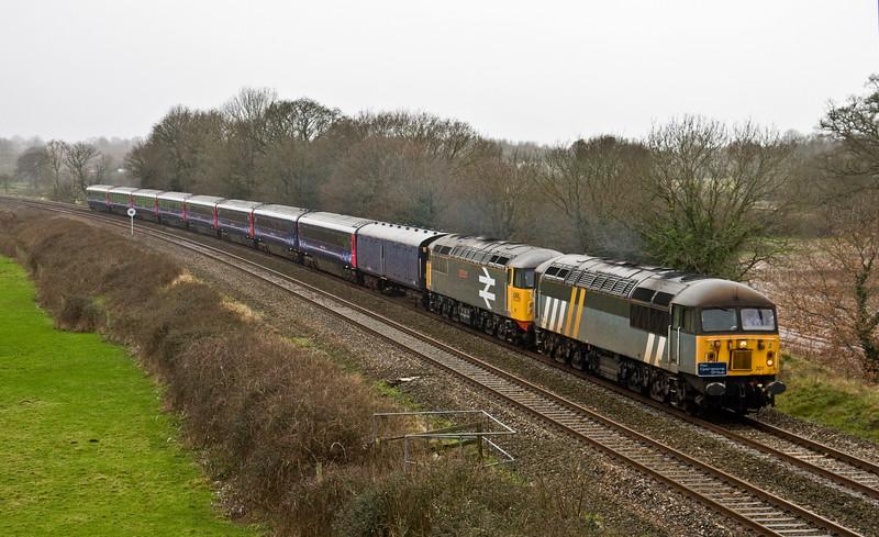 56301/56098, Plymouth Laira T&RSMD-Kilmarnock Barclay Sidings, Silverton, near Exeter, 31-1-16.