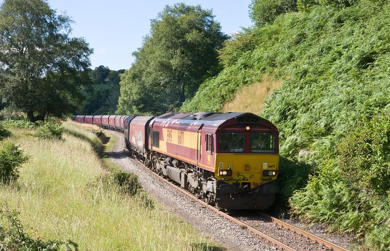 66171, 15.43 Cwmbargoed Opencast Colliery-Hope Earles Sidings, Bedlinog, 18-7-16.