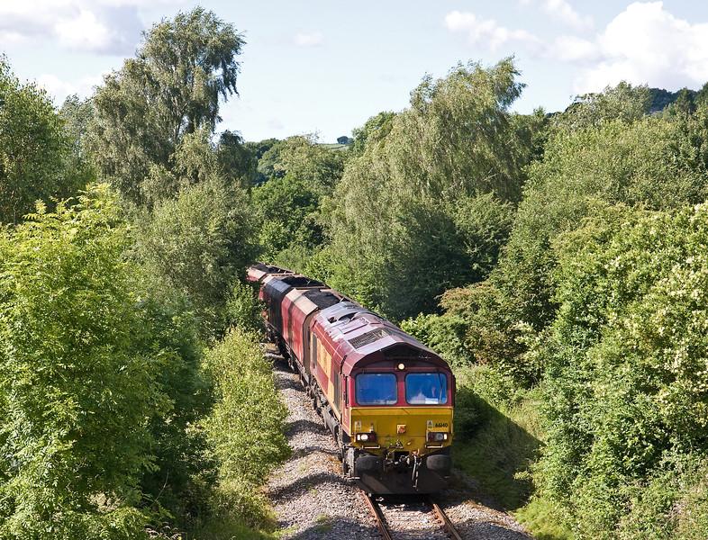 66140, 14.45 Cwmbargoed Opencast Colliery-Port Talbot Grange Sidings, Trelewis, near Nelson, 13-7-16.