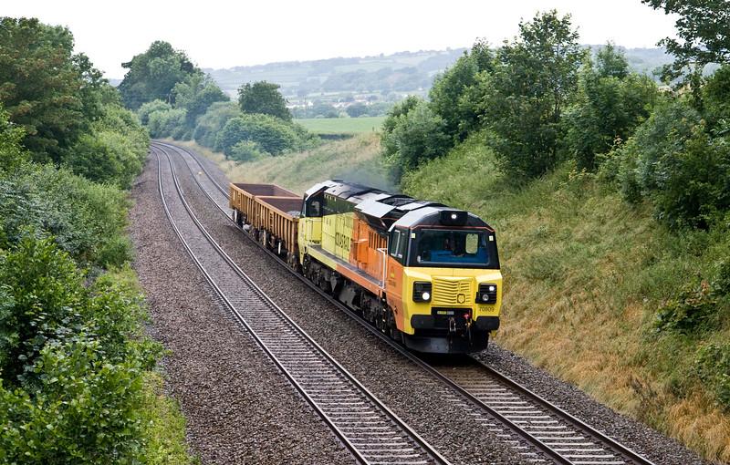 70809, 09.30 Plymouth Tavistock Junction Plant Depot-Westbury Yard, Whiteball, 29-6-16.