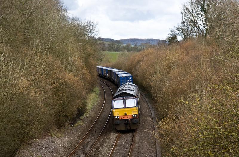 66302, 08.20 Daventry-Cardiff Wentloog, Awre, near Lydney, 7-3-16.
