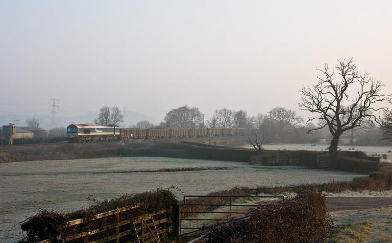 59103, 05.57 Westbury Yard-Exeter Riverside Yard, Pugham Crossing, near Burlescombe, 18-3-16.