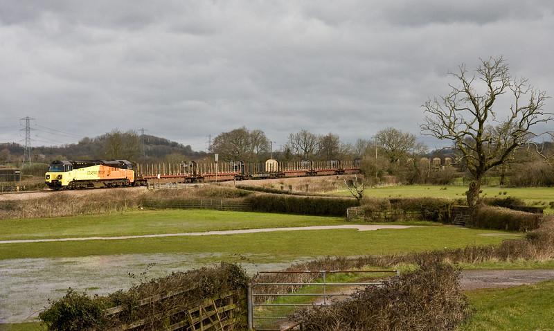 70804, 06.08 Chirk Kronospan-Exeter Riverside Yard, Pugham Crossing, near Burlescombe, 9-3-16.