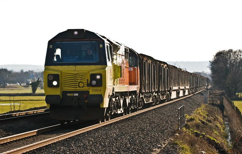 70804, 16.08 Exeter Riverside Yard-Chirk Kronospan, Pugham Crossing, near Burlescombe, 10-3-16.