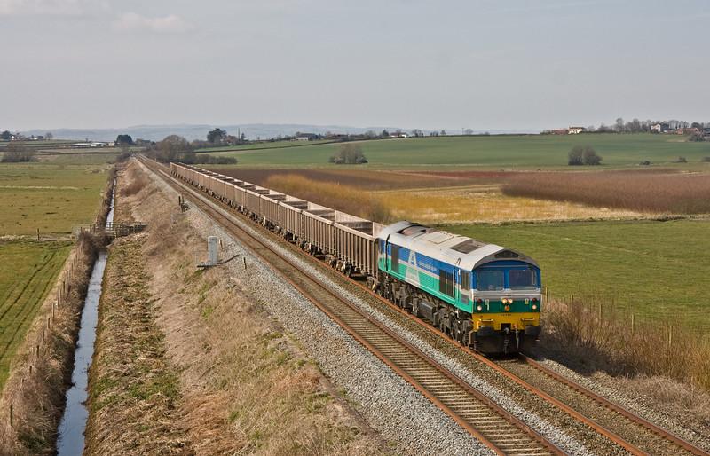 59005, 11.33 Exeter Riverside Yard-Whatley Quarry, Oath, near Langport, 21-3-16.