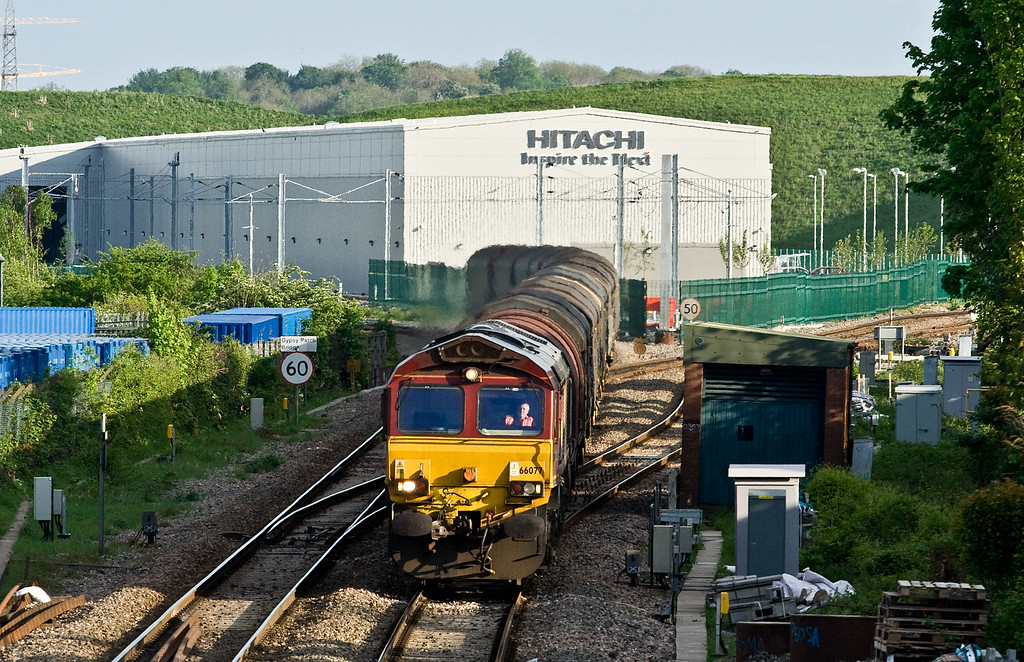 66077, 15.15 Bescot Up Engineer's Sidings-Margam Yard, Patchway, Bristol, 14-5-16. Delayed 19.34 (Friday) from Tees Yard, diverted via Oxford.