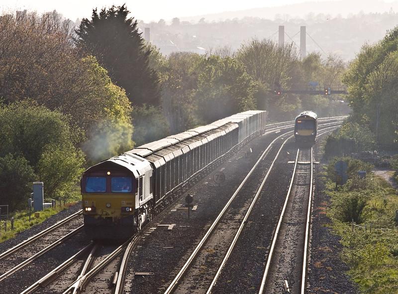 66161, 18.52 Newport Alexandra Docjk Junction Yard-Didcot Yard,  Llanwern West Junction, near Newport, 4-5-16.  170519, 18.46 Cardiff Central-Nottingham.