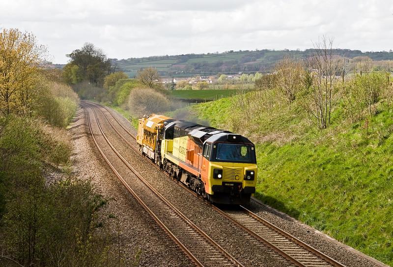 70804, 13.00 Exeter Exmouth Junction-Westbury, Whiteball, 3-5-16.