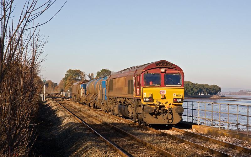 66238/66160, 08.45 Westbury-St Blazey, via Salisbury, Powderham, near Exeter, 29-11-16.