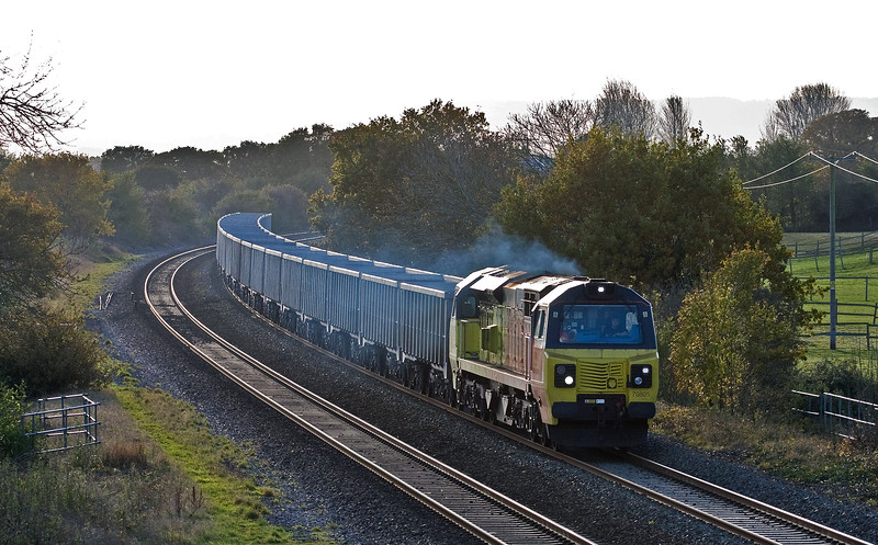 70805, 11.30 Exeter Riverside Yard-Whatley Quarry, Cogload, 10-11-16. Held at Taunton for booked path.