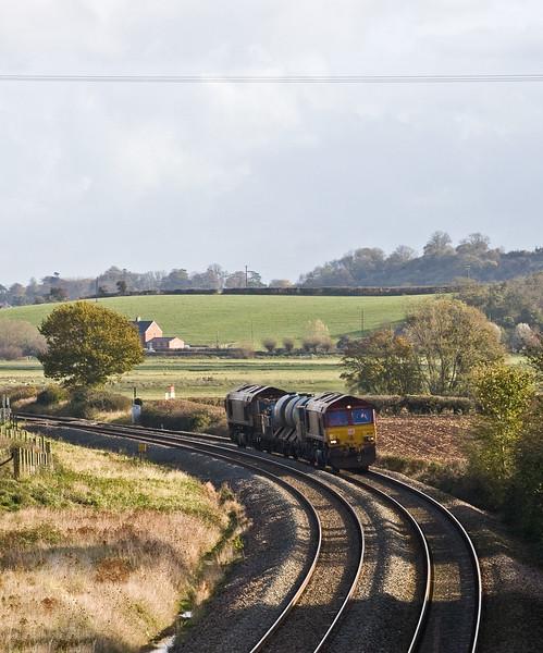 66238/66160, 08.45 Westbury-St Blazey, Stoke St Gregory, near Taunton, 10-11-16.