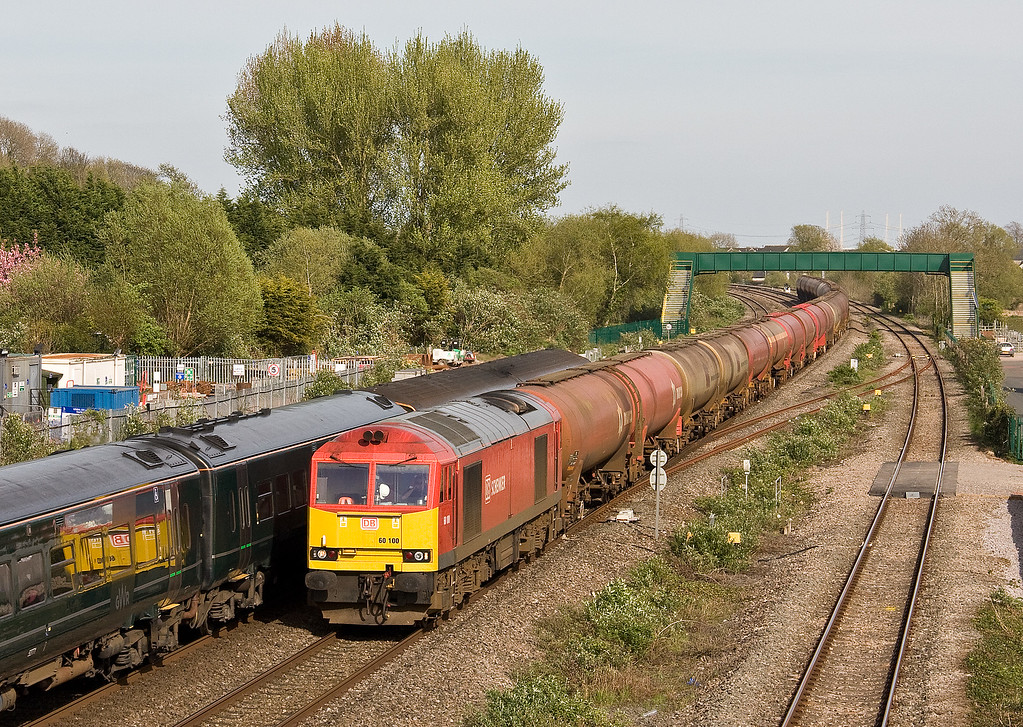 60100, 13.00 Theale Murco-Robeston Sidings, Magor, 11-4-17, passing 150/158, 16.30 Cardiff Central-Portsmouth Harbour.