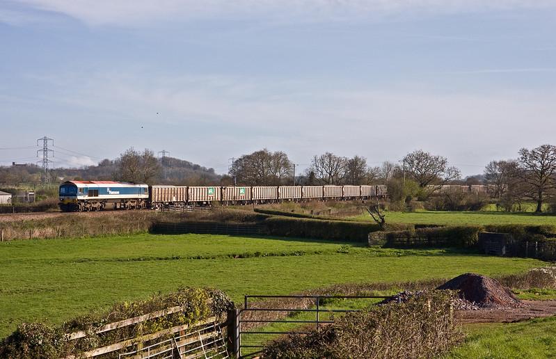 59103, 05.27 Westbury Yard-Exeter Riverside Yard, Pugham Crossing, near Burlescombe, 5-4-17. Delayed 2hr 8min at Westbury by points failure.
