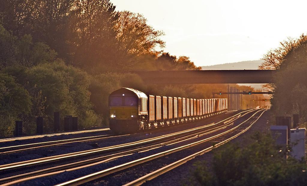 66305, 18.58 Cardiff Wentloog-Daventry Railfreight Terminal, Bishton, near Newport, 11-4-17.