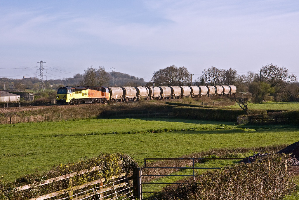 70802, 02.50 Aberthaw Cement Works-Moorswater Lafarge, Pugham Crossing, near Burlescombe, 5-4-17. Delayed 1hr 43min at Westbury by points failure.