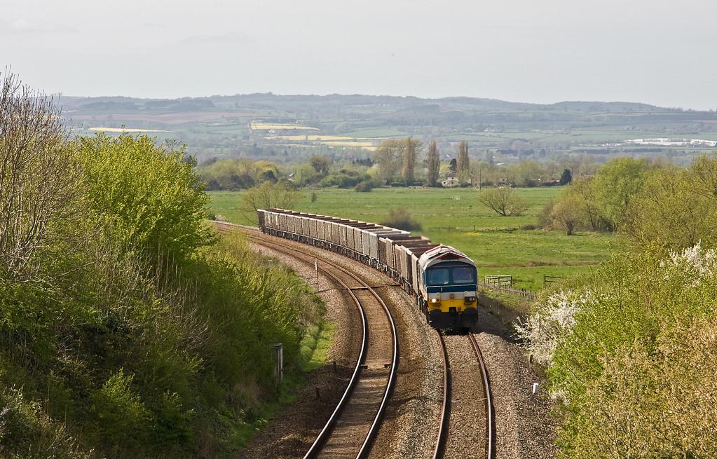 59103, 13.45 Exeter Riverside Yard-Whatley Quarry, Stoke St Gregory, near Taunton, 5-4-17.