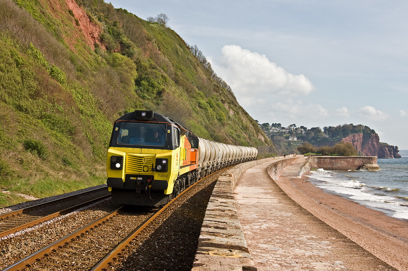 70802, 03.13 Aberthaw Cement Works-Moorswater Lafarge, Teignmouth, 19-4-17. 80min late; delayed 150 minutes in Bath area by signal failure.