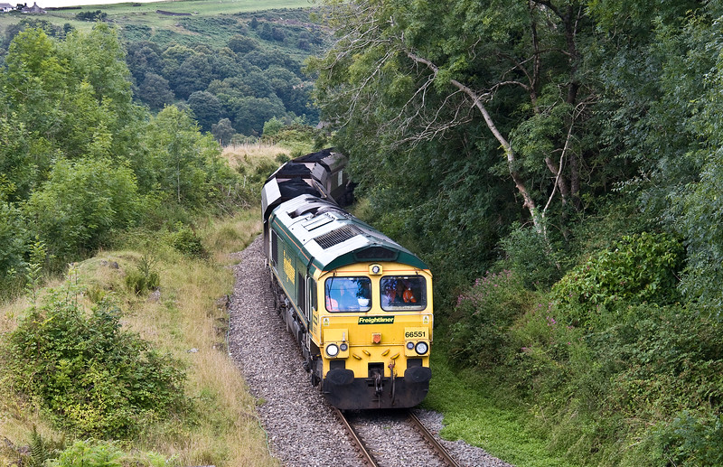 66551, 10.39 Cwmbargoed Opencast Colliery-Port Talbot Grange Sidings, Bedlinog,10-8-17.