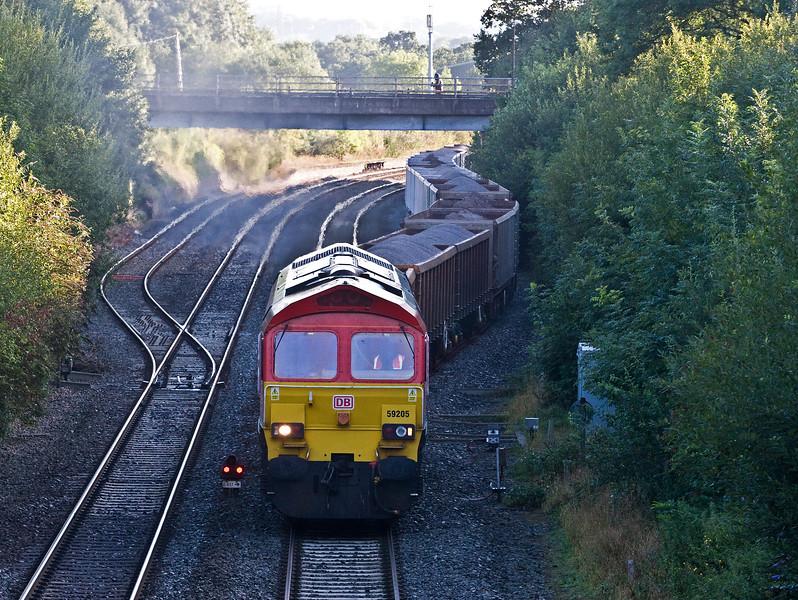 59205, 05.29 Westbury Yard-Exeter Riverside Yard, departing Tiverton Loops, Willand, near Tiverton, 10-8-17.