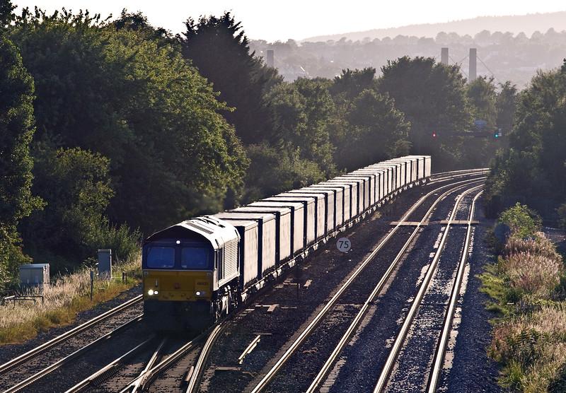 66433, 18.58 Cardiff Wentloog-Daventry Rail Freight Terminal, Llanwern West Junction, 15-8-17.