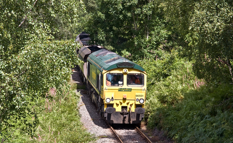 66551, 10.39 Cwmbargoed Opencast Colliery-Port Talbot Grange Sidings, Trelewis, near Nelson,10-8-17.
