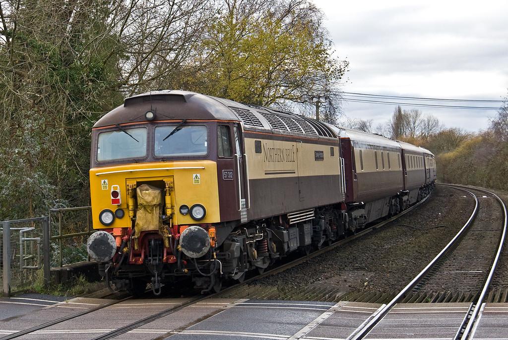 57305/57312, top'n'tail 08.25 Kidderminster Severn Valley Railway-Newport ecs, restarting from Lydney Loops, 4-12-17.