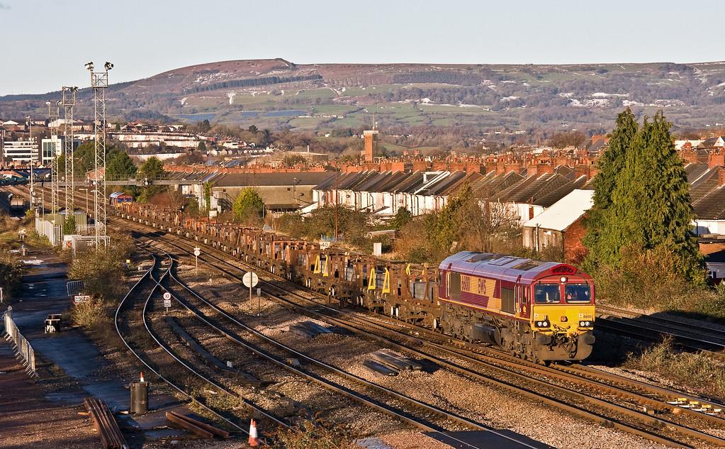 66100/66158, 07.34 Margam Yard-Birdport (East Usk branch), via Llanwern Exchange Sidings, Somerton, Newport, 15-12-17.