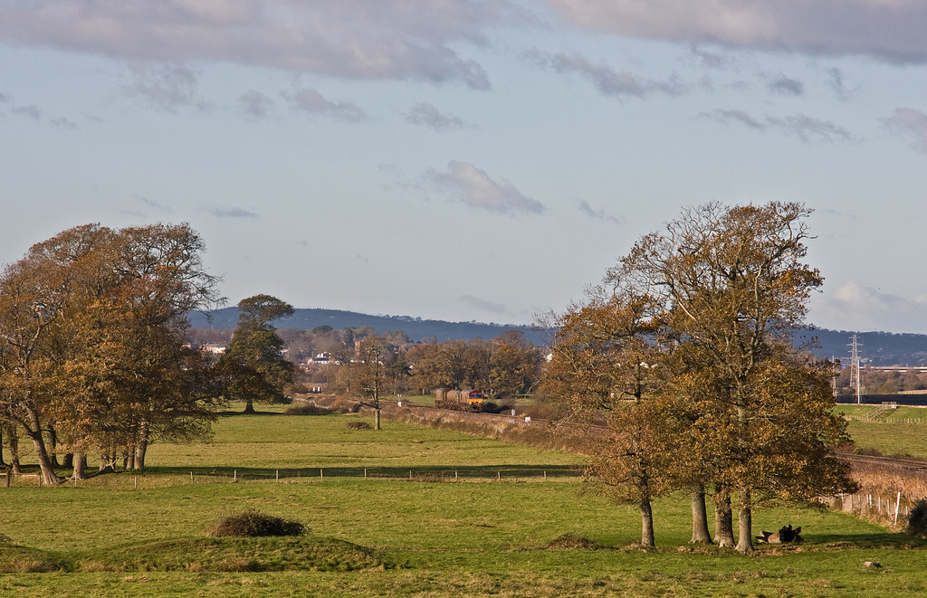 66127/66027, 08.50 Westbury-St Blazey, via Salisbury, Powderham Marshes, near Exeter, 1-12-17.
