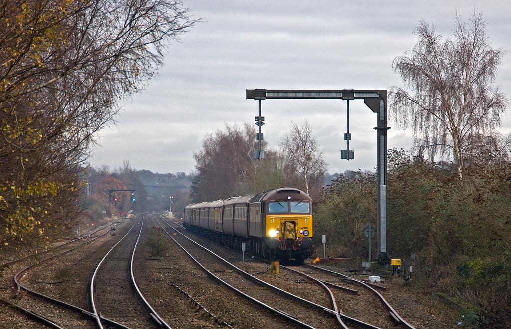 57305/57312, top'n'tail 08.25 Kidderminster Severn Valley Railway-Newport ecs, during 75min layover, Lydney Loops, 4-12-17.