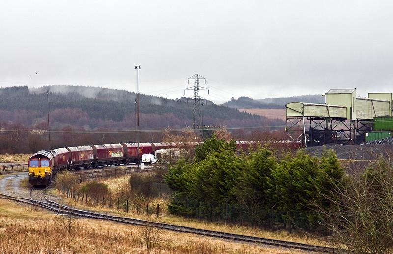 66078, loading 13.54 Onllwyn Washery-Immingham, Onllwyn Washery, 28-2-17.