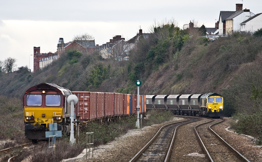 66524, 14.00 Aberthaw Power Station-Cwmbargoed Opencast Colliery, Cadoxton, 8-2-17. 66120, 14.32 Barry Docks ABP Shipment-Newport Alexandra Dock Junction Yard, awaiting booked path.