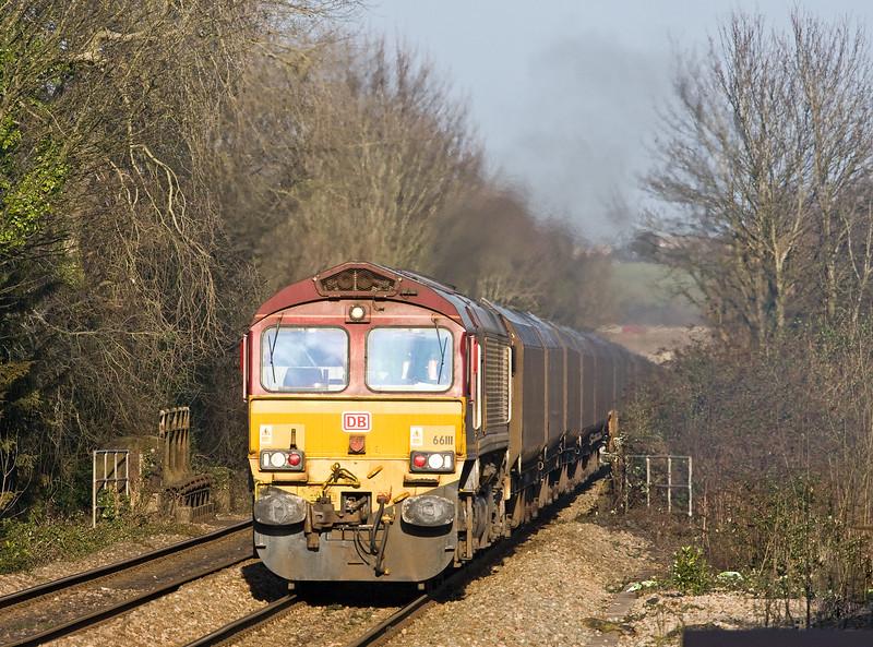 66111, 10.39 Cwmbargoed Opencast Colliery-Port Talbot Grange Sidings, Dinas Powys, near Barry, 13-2-17.