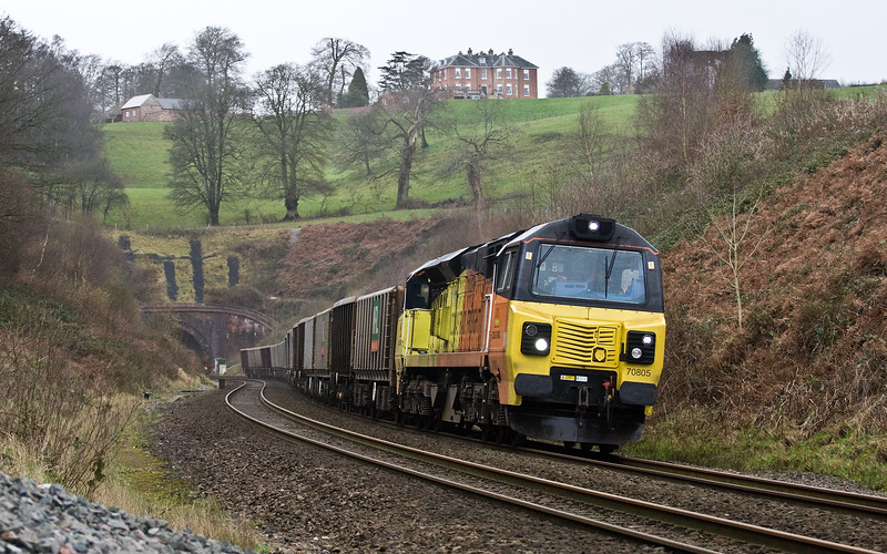 70805, 13.45 Exeter Riverside Yard-Whatley Quarry. Marlands, near Wellington, 2-2-17. Empties from the 1-2-17 train, unloaded late following a grab failure.