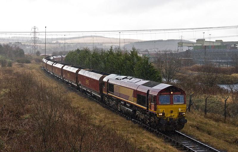 66078, finishes loading 13.54 Onllwyn Washery-Immingham, Onllwyn Washery, 28-2-17.