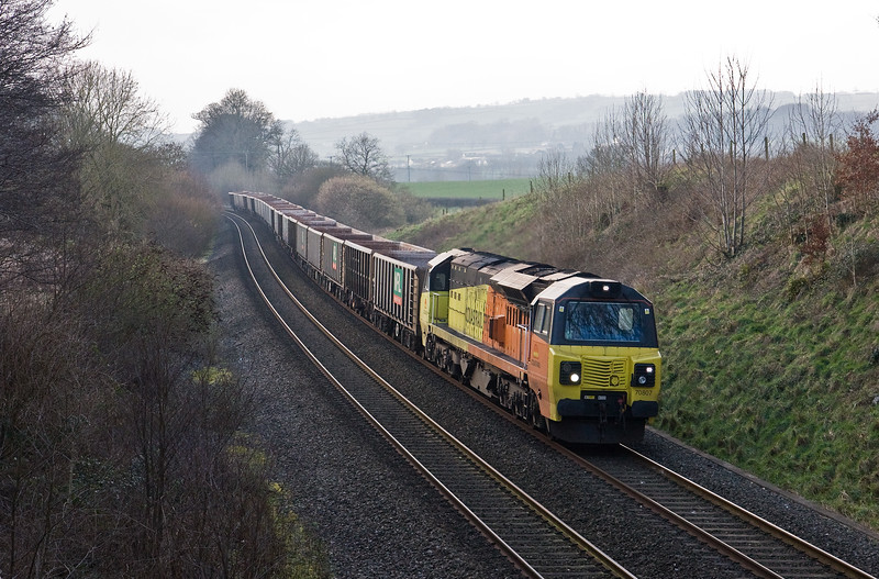 70807, 13.45 Exeter Riverside Yard-Whatley Quarry, Whiteball, 9-2-17.