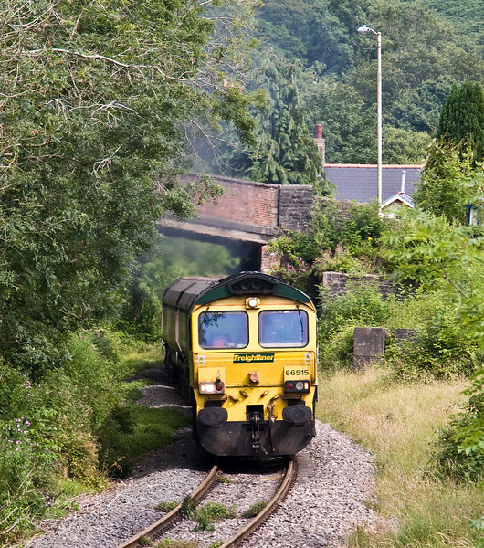 66515, 12.57 Margam-Cwmbargoed Opencast Colliery, Bedlinog, 17-7-17. FLHH men and machines hired in by DB Cargo this week to resolve crewing issues.